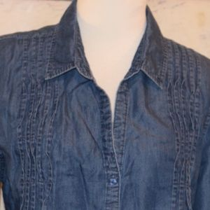 Gloria Vanderbilt Chambray Ruffled Shirt Top XL